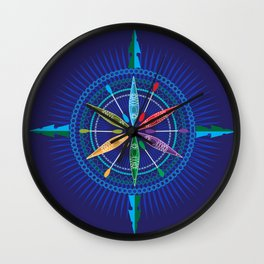 Kayak Compass Rose Wall Clock