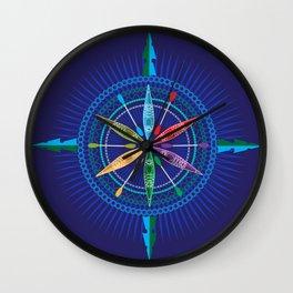 Kayak Compass Rose Wall Clock