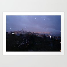 Seattle Skyline at Sunrise During the rain Art Print