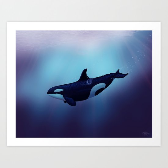 """""""Lost in Fantasy"""" by Amber Marine ~ Orca / Killer Whale Art, (c) 2015 Art Print"""