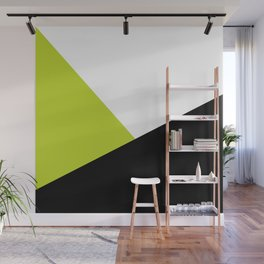 Trichromatic Black White Lime Color Block Wall Mural