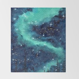 Northern Lights galaxy watercolor landscape painting Throw Blanket