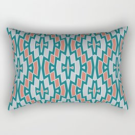 Tribal Diamond Pattern in Teal, Coral and Gray Rectangular Pillow