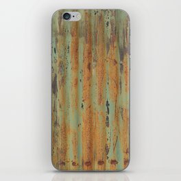 corrugated rusty metal fence paint texture iPhone Skin