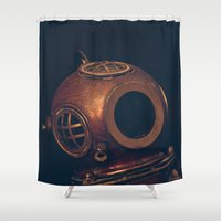 diver Shower Curtains featuring The Diver by CoffeeCupRobot