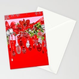 RED CHRISTMAS SNOW FLAKES & AMARYLLIS CHRISTMAS ORNAMENTS Stationery Cards