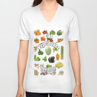 vegetarian V-neck T-shirts featuring Eat A Vegetarian by PerfectImperfections