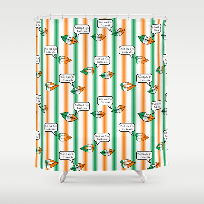 kiss me i'm irish-ish stripes Shower Curtain