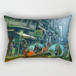 GREEN ROAD  -  city street scene Rectangular Pillow