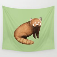 vegetarian Wall Tapestries featuring Red Panda by Sophie Corrigan