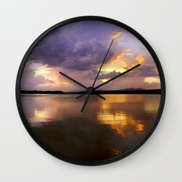 Panoramic. Sunset at the lake after the storm. End of the summer. Wall Clock