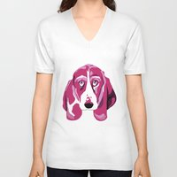 the hound V-neck T-shirts featuring Hound Dog by andiroses