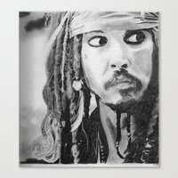 jack sparrow Canvas Prints featuring Jack Sparrow by Christie Rainey