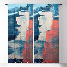 Deep Waters: a vibrant, minimal, abstract painting in pinks and blues by Alyssa Hamilton Art Blackout Curtain
