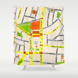 Tel Aviv map design - written in Hebrew Shower Curtain