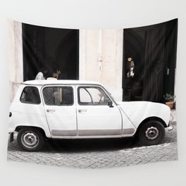 White Renault R4 - Lisbon, Portugal Wall Tapestry