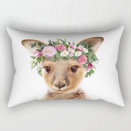 Baby Kangaroo With Flower Crown, Baby Animals Art Print By Synplus Rectangular Pillow
