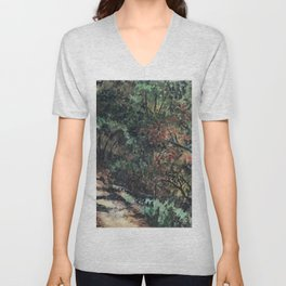 Lighted Path Through Green - Oil on canvas painting Unisex V-Neck