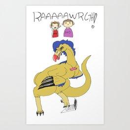Dinosaur behind the keyboard Art Print