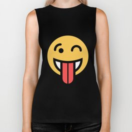 Smiley Face   Big Tongue Out And Squinting Joking Happy Face Biker Tank