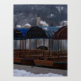 Pletna Boats At Bled Lake Poster