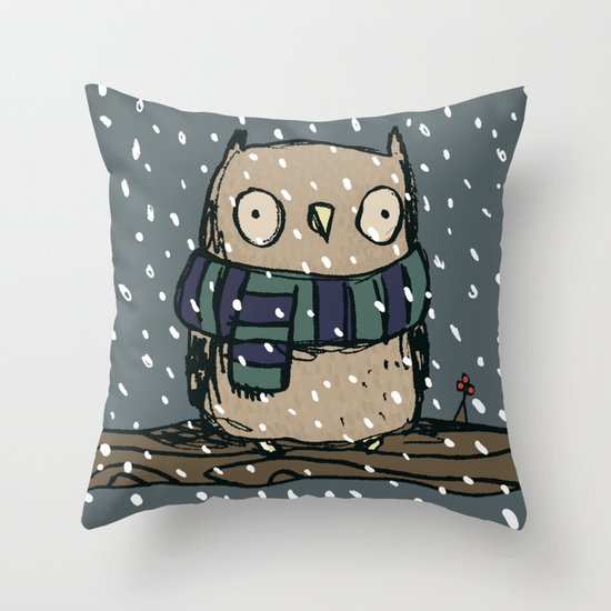 Chilly Owl Throw Pillow