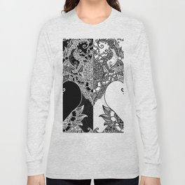 Unity of Halves - Life Tree - Rebirth - Black White Long Sleeve T-shirt