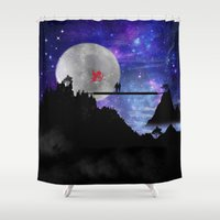 i love you to the moon and back Shower Curtains featuring love you to the moon and back by haroulita