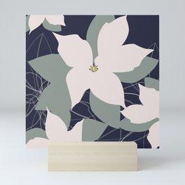 Leafy Floral Collage on Navy Mini Art Print