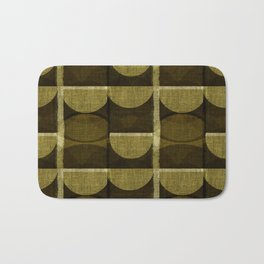 """""""Retro Olive green Chained Circles"""" Bath Mat"""