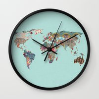 louis armstrong Wall Clocks featuring Louis Armstrong Told Us So (teal) by Bianca Green