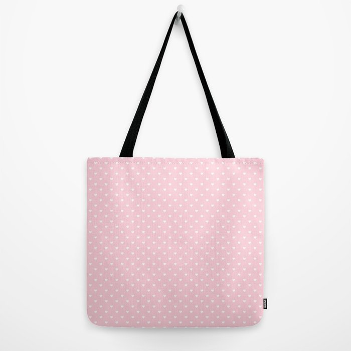 29686162fd44 White Polka Dot Hearts on Light Soft Pastel Pink Tote Bag by honorandobey