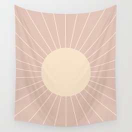 Minimal Sunrays - Neutral Pink Wall Tapestry