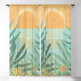 Peaceful Tropics / Sunset Landscape Sheer Curtain