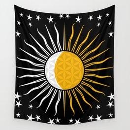 Sun Moon & Stars Flower Of Life Space Spiritual Zen Bohemian Hippie Yoga Mantra Meditation Wall Tapestry