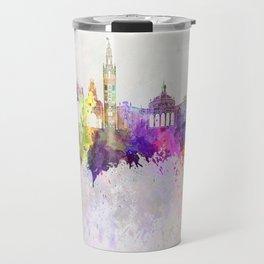 Seville skyline in watercolor background Travel Mug