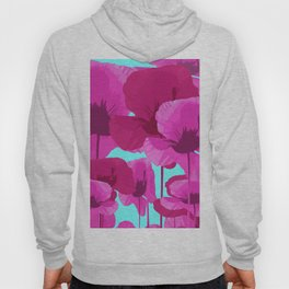 Sweet Pink Poppies On A Turquoise Background Hoody