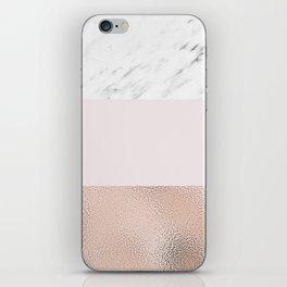 Pastel striping - rose gold marble iPhone Skin
