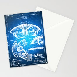 Football Shoulder Pads Paten Blueprint Drawing Blue Stationery Cards