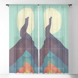 Howling Wild Wolf Sheer Curtain