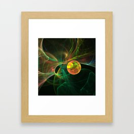 Abstract fractal orange planet. Space theme. Computer generated graphics. Framed Art Print