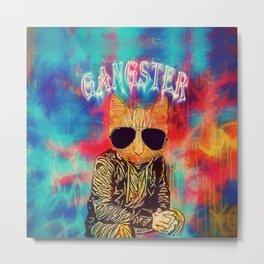 Colorful Gangster Cat Metal Print