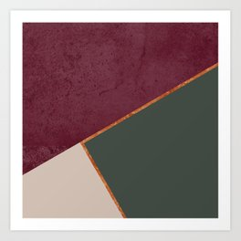 Burgundy Olive Green Gold and Nude Geometric Pattern #society6 #buyart Art Print