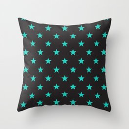 Stary Stars - Tiffany blue on black background Throw Pillow