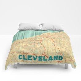 Cleveland Map Retro Comforters