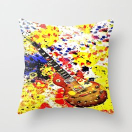 Retro Les Paul guitar Throw Pillow