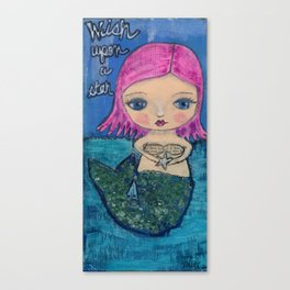mermaid - wish upon a star Canvas Print
