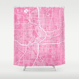 Atlanta map pink Shower Curtain