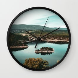 Little Mountain Island // Teal and Rustic Lake Photograph in Colorado Wall Clock