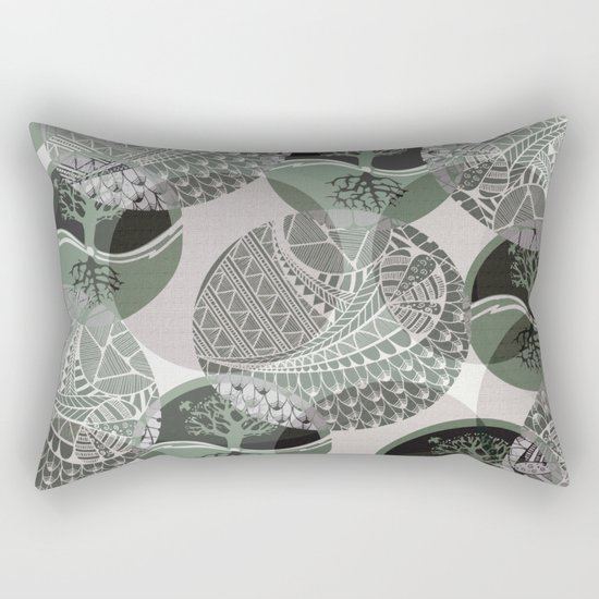 Zentangle and Tree Motifs in Circles Rectangular Pillow